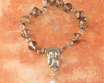 One Decade & Car Rosaries -  Rose Gold - Blue/Lilac - Cherry Quartz - Gray and Silver - Italian Silver Centers  - Italian Silver Crucifixes