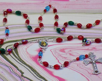 Czech Crystal Rosary - Czech Red, Green & Blue Crystal Beads - St Anthony Center - Crucifix Which Contains Earth from the Catacombs in Italy