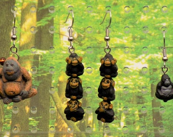Orangutan, Monkey and Gorilla Earrings - Orangutan - See, Hear & Speak No Evil Monkeys - Gorillas - 3 Different to Choose From