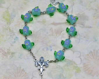 One Decade & Car Rosaries - Green or Blue Flower Beads - Pink Striped Glass Beads - Topaz Glass Flower Beads -Italian Centers and Crucifixes