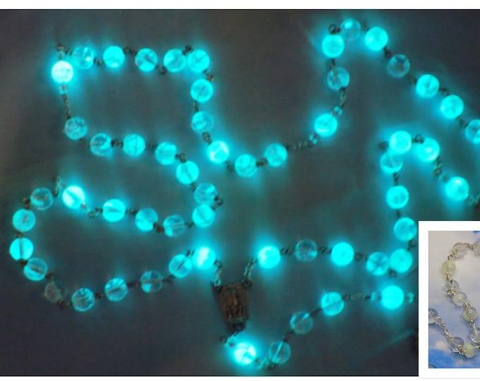 "Clear Czech Glass ""Glow in the Dark"" Rosary - Clear Glow in The Dark Glass Beads - Our Lady of Fatima Center & Water - Luminous Crucifix"