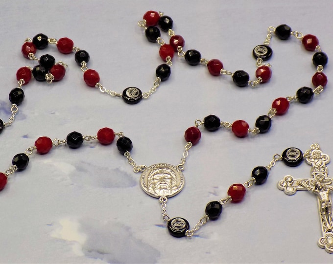 Hockey Rosary - Czech 8mm Deep Red and Black Glass Beads - Czech Glass Hockey Pucks - Italian Silver Holy Face Center - Italian Crucifix