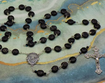 Black Lava Rock Rosary - Black Lava Rock Gemstone 12mm Beads - Czech Father Accent Beads - Holy Family Center - Italian Eucharistic Crucifix