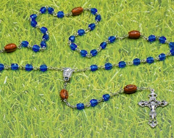 Football Rosaries - Czech 6mm Crystal Beads - Peru Ceramic Footballs - Centers Contains Water from Lourdes - Italian Filigree Crucifixes