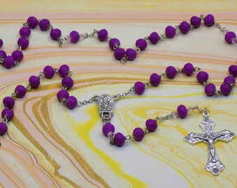 Purple Neon Rosary - Czech Purple Neon Soft Touch Rubber Coated Glass Beads - Center contains Water from Fatima,Portugal - Italian Crucifix