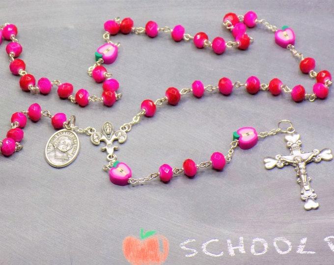 Fuchsia Teacher Rosary - Fuchsia Glass Beads - Polymer Clay Apple Beads - Italian Center - Italian Crucifix -St John Baptist DL Salle Medals