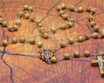 Natural Cedar Wood Rosary - Aromatic Natural Cedar 8mm Wood Beads - Metal Accent Beads - Ave Maria Wood Center - Wood Crucifix