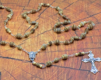 Natural Wood with Bark Rosary - Natural Wood Beads with Bark - Italian Center with Water from Lourdes - Italian Grapes & Vine Crucifix