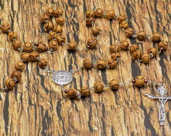 Wood Bead Rosary - Natural Wood with Circle Design 9mm Beads - Italian Silver Holy Face Center - Italian Silver Holy Trinity Crucifix
