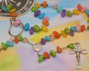 Rainbow Crackle Quartz Rosary - Crackle Quartz Multi Color Beads - Czech Rainbow Beads - Holy Face Center - Stations of the Cross Crucifix