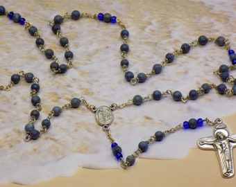 Blue Coral Rosary - Natural Blue Coral Beads - Czech Blue Father Beads - Our Lady of Fatima Center that Contains Soil -Jesus & Mary Crucifix