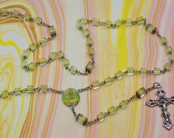 Czech Yellow Cube Rosary - Czech Yellow Crystal Cube Beads - Our Lady of Fatima Center - Italian Silver Crucifix Rosary