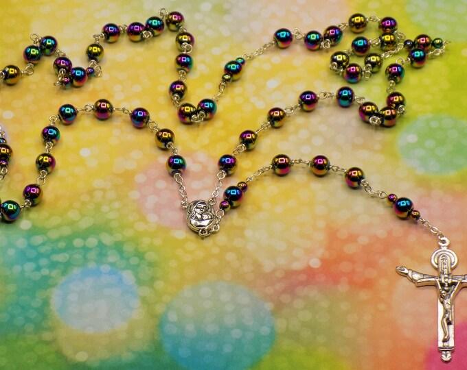 Rainbow Hematite Rosary - Semi Precious Metallic Rainbow Hematite 8mm Beads - Center that Contains Jerusalem Soil - Holy Trinity Crucifix