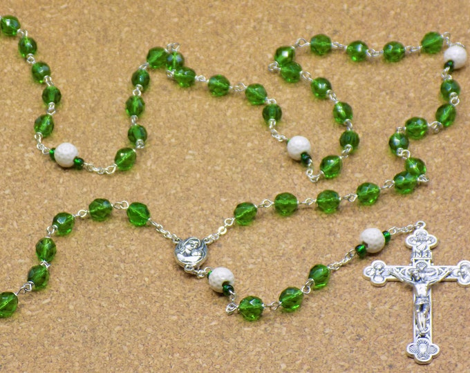Golf Ball Rosary - Czech 8mm Green Glass Beads - Ceramic Golf Balls - Mary and Child Center with Soil from Jerusalem -  Eucharistic Crucifix