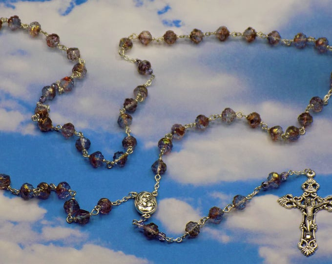 Purple/Blue Rosebud Rosary - Amethyst/Blue/Crystal Luster Rosebud Crystal Beads - Our Lady of Fatima with Water Center - Filigree Crucifix