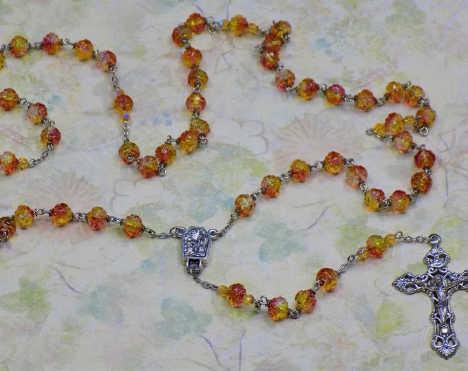 Fuchsia and Lemon Rosebud Rosary - Czech Fuchsia & Lemon Rosebud Glass Beads, Water from Lourdes Center, Italian Silver Filigree Crucifix