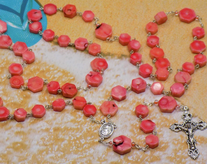 Coral Rosary - Natural Pink Coral Beads - Italian Silver Our Lady of Medjugorje Center that Contains Soil - Italian Silver Filigree Crucifix