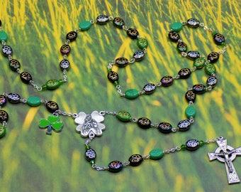 Czech Shamrock Rosary - Czech Multi Color 9x11mm Shamrock Glass Beads - Italian Mary Shamrock Center - Italian Celtic Crucifix