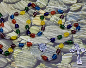 Crystal Frog Rosary - Multicolor Frog Crystal Beads - Multicolor Accent Beads - Our Lady of Lourdes Center - Stations of the Cross Crucifix