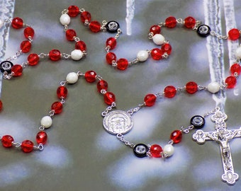 Hockey Rosary - Czech 8mm Red and White -or- Blue and White Glass Beads - Czech Hockey Pucks - Holy Face Center - Italian Silver Crucifix