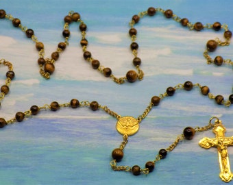 Tiger-Eye Gem Stone Rosary - Semi Precious Tiger-Eye Beads - Italian Holy Spirit Center - Italian Gold Hearts Crucifix Rosary