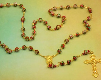 Red Cloisonne Rosary - Red 8mm Cloisonne Metal Beads - Italian Our Lady of Lourdes Water Center - Italian Filigree Crucifx