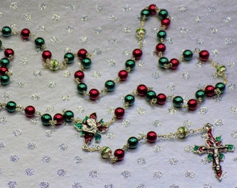 Christmas Poinsettia Rosaries - Red and Green Glass Pearl 8mm Beads -Silver or Gold Plated Pewter Christmas Poinsettia Centers & Crucifixes