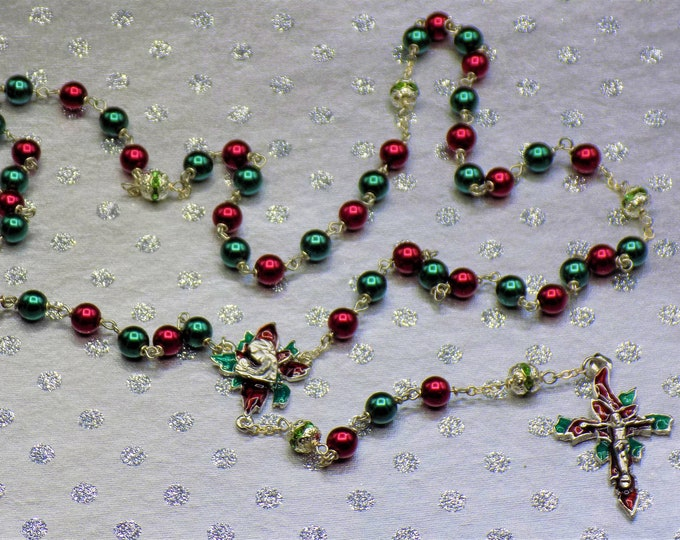 Christmas Poinsettia Rosary-Red and Green Glass Pearl Beads-Green Rhinestone Beads-Silver Plated Pewter Christmas Poinsettia Center&Crucifix