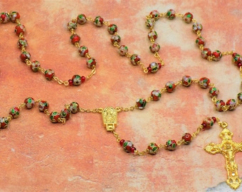 Red Cloisonne Rosary - Red 8mm Cloisonne Metal Beads - Italian Our Lady of Fatima Water Center - Italian Filigree Crucifx