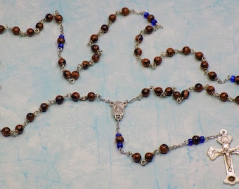 Goldstone & Bluestone Rosary - Semi Precious Goldstone and Bluestone Beads - Water from Fatima Center - Soil from Rome Catacombs Crucifix