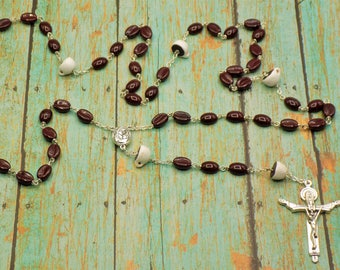 Coffee Bean Rosary - Czech Coffee Bean Glass Beads - Ceramic Coffee Cup Beads -  Mary & Child Center with Holy Soil - Holy Trinity Crucifix