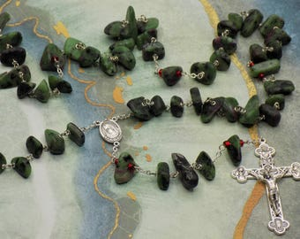 Ruby in Zoisite Rosary - Semi Precious Ruby in Zoisite 10-20mm Nugget Beads - Medjugorje Center - Italian Silver Eucharistic Crucifix
