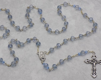 Light Sapphire AB Rosebud Rosary -  Czech Lt Sapphire AB Rosebud Crystal Beads - Water from Fatima Center - Italian Filigree Crucifix
