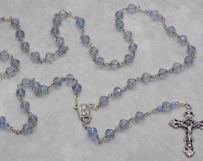Light Sapphire AB Rosebud Rosary -  Czech Lt Sapphire AB Rosebud Crystal Beads - Water from Fatima Center - Italian Filigree Crucifix