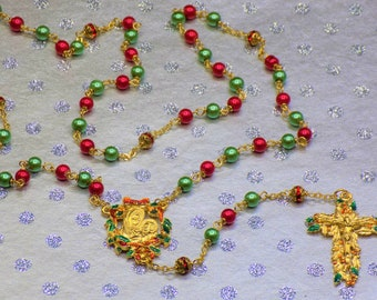 Christmas Rosaries - Red and Green Glass Pearl Beads - Gold Rhinestone Beads - Gold Christmas Red and Green Pewter Centers & Crucifixies