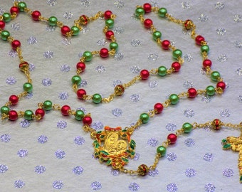 Christmas Rosaries - Red and Green Glass Pearl Beads - Gold Rhinestone Beads - Gold Christmas Red and Green Pewter Centers & Crucifixes