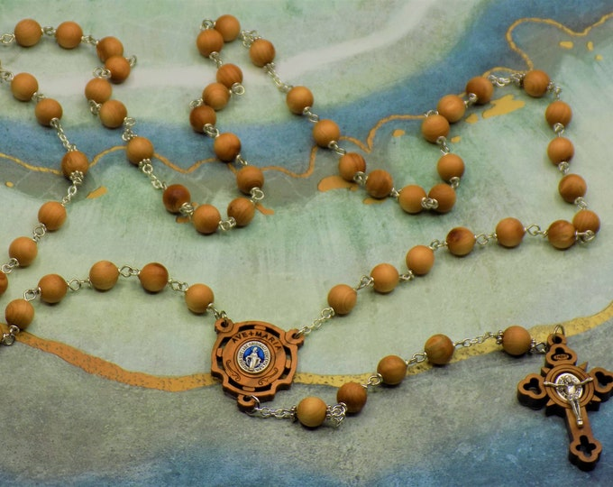 Natural Cedar Wood Rosary - Aromatic Natural Cedar 8mm Wood Beads - Metal Accent Beads - Ave Maria Wood Center - St Benedict Wood Crucifix