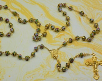 Gold Cloisonne Rosary - Gold 8mm Cloisonne Metal Beads - Italian Our Lady of Fatima Water Center - Italian Filigree Crucifx