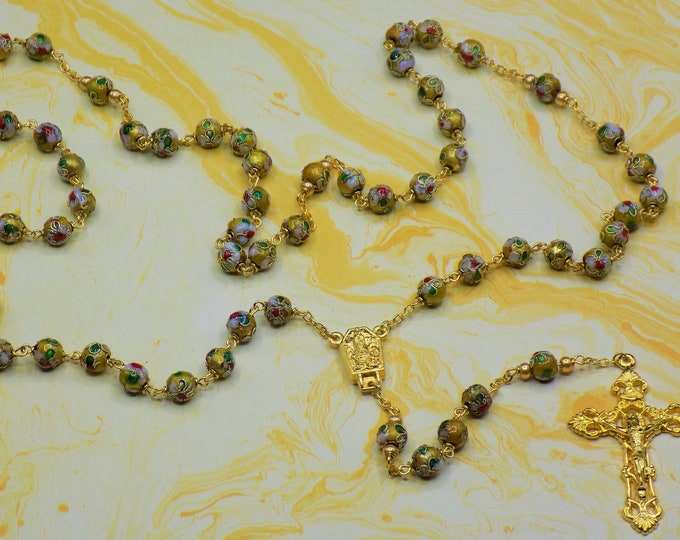 Gold Cloisonné Rosary - Gold 8mm Cloisonné Metal Beads - Italian Our Lady of Fatima Water Center - Italian Filigree Crucifix