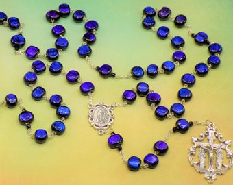 Dichroic Glass Rosary - Dichroic Black, Blue & Rainbow Beads - Italian Our Lady of Lourdes Center - Italian Intricately detailed crucifix