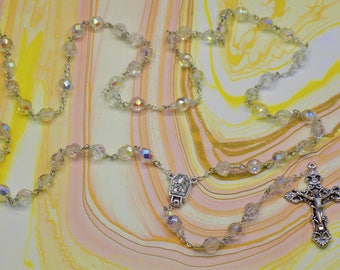 AB Crystal Rosary - AB Crystal 8mm Beads -Italian Silver Our Lady of Lourdes Center which Contains Water - Italian Silver Filigree Crucifix