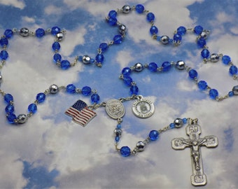US Air Force Military Rosary - Czech Blue and Silver Crystal Beads-St Michael Center - St Christopher and Air Force Charm -Stations Crucifix