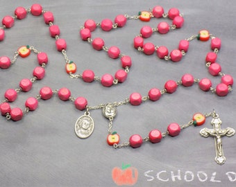Teacher Rosary - Pink German Wood Beads - Polymer Clay Apple Beads - Mary & Child Center - Italian Crucifix - St John Baptist DL Salle Medal