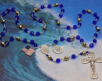US Navy Military Rosary - Czech Dk Blue and Gold Crystal Beads - St Michael Center-St Christopher & US Navy Insignia Charm-Stations Crucifix