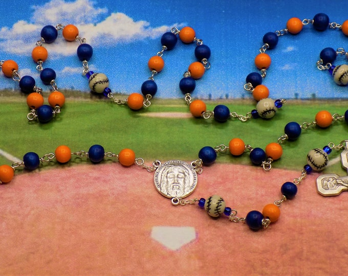 Baseball Rosary - Blue and Orange or Blue & Gold Cheesewood Beads - Ceramic Baseballs - Holy Face Center - Stations of the Cross Crucifix