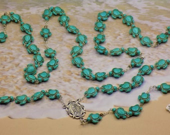 Turtle Rosaries - Turquoise Blue & Multi Color Stone Turtle Beads - Italian Our Lady of Lourdes Center - Italian Eucharistic Crucifix