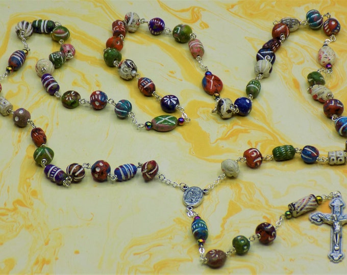 Unique Clay Rosary - Textured Multiple Shape-Color Beads - Rainbow Hematite Beads -Italian Fatima Center with Earth -Italian Hearts Crucifix