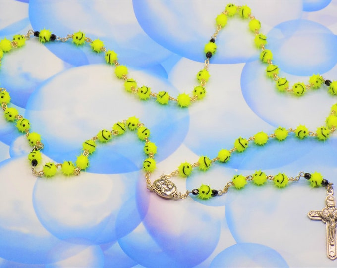 """Yellow Emoticon """"Smiley Face"""" Rosary - Yellow Soft Rubber Emoticon Beads - Mary & Child Center with Jerusalem Soil - Italian Angels Crucifix"""