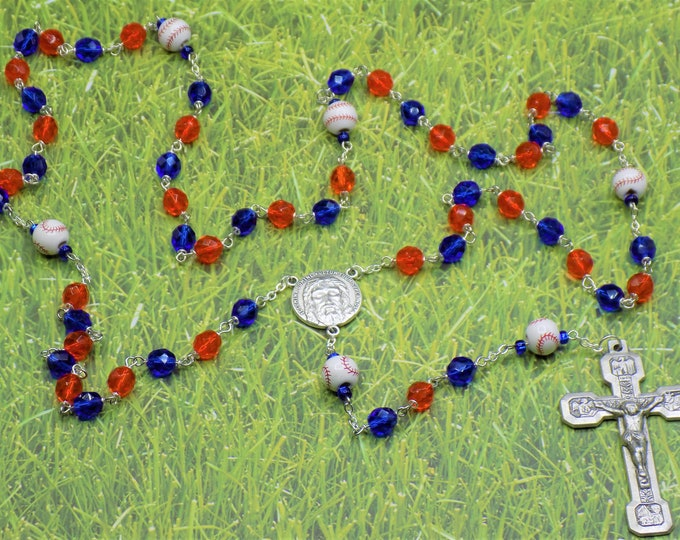 Baseball Rosary - Czech Orange and Blue 8mm Crystal Beads - Ceramic Baseballs - Italian Silver Holy Face Center - Italian Stations Crucifix