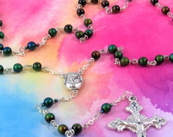 Mood Bead Rosary - Thermo-Sensitive Liquid Crystal Changing Color Beads - Mary and Child Jerusalem Earth Center - Italian Sunburst Crucifix